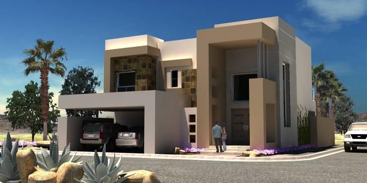 Visualización en 3D Fachada principal:  de estilo  por Acrópolis Arquitectura