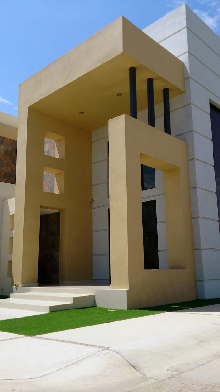 Detalle de Pórtico de acceso: Casas de estilo  por Acrópolis Arquitectura