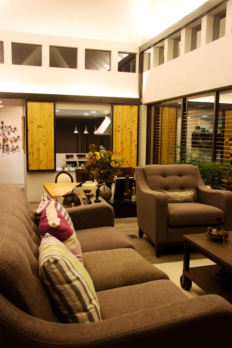 Casa GS: Salas de estilo  por Iluminarq