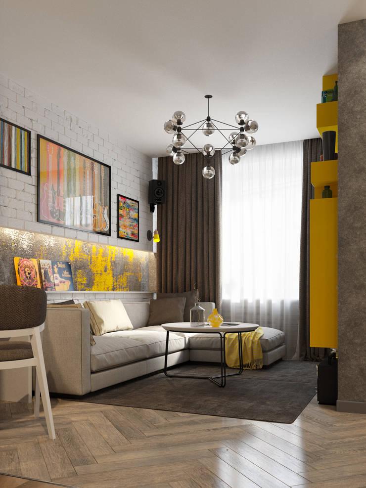 Однокомнатная квартира для студента в ЖК Эдальго: Гостиная в . Автор – WOWROOM design studio