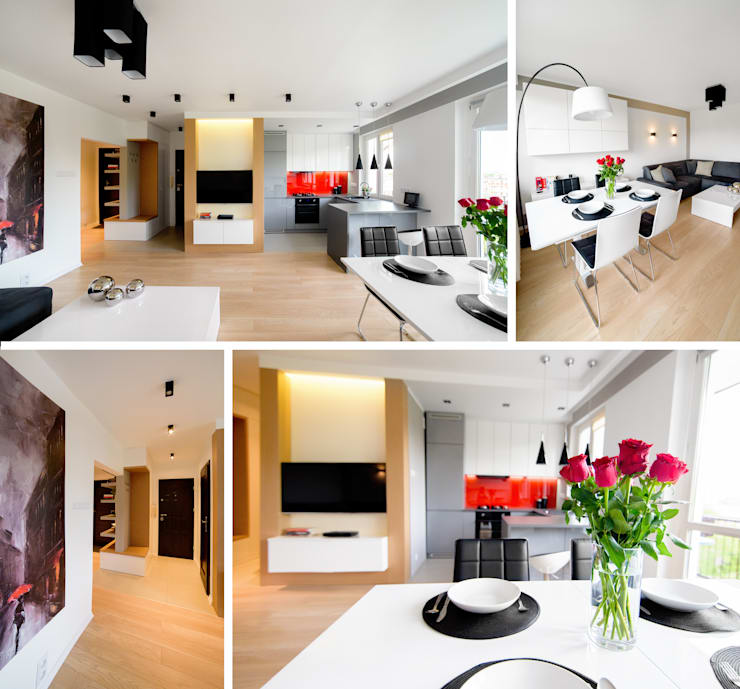 Mieszkanie prywatne – Dąbrowa Górnicza.: styl , w kategorii Salon zaprojektowany przez PR Architects Sp z o. o. Pala&Rodek