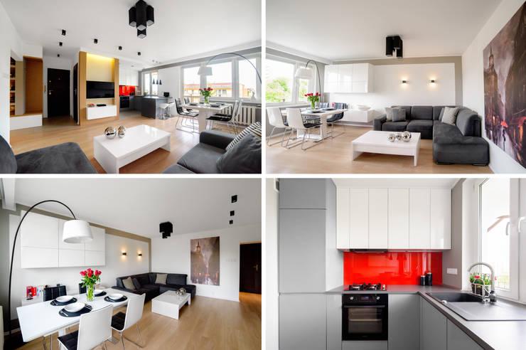 Mieszkanie prywatne - Dąbrowa Górnicza.: styl , w kategorii Salon zaprojektowany przez PR Architects Sp z o. o. Pala&Rodek