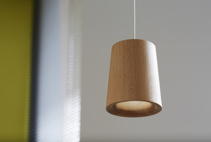 Solid Pendant Cone in Natural Oak:  Kitchen by Terence Woodgate