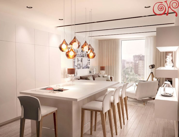 Кухонный остров заменяет обеденный стол: Столовые комнаты в . Автор – Дизайн студия Ольги Кондратовой,