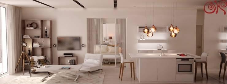 Прозрачная раздвижная перегородка отделяет спальню от кухни-гостиной: Гостиная в . Автор – Дизайн студия Ольги Кондратовой