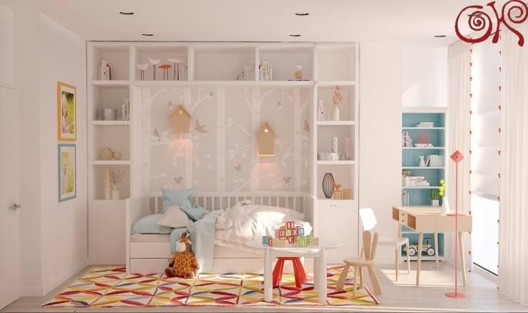 В дизайне современной детской комнаты на фоне светлых оттенков используются яркие акценты: Детские комнаты в . Автор – Дизайн студия Ольги Кондратовой,