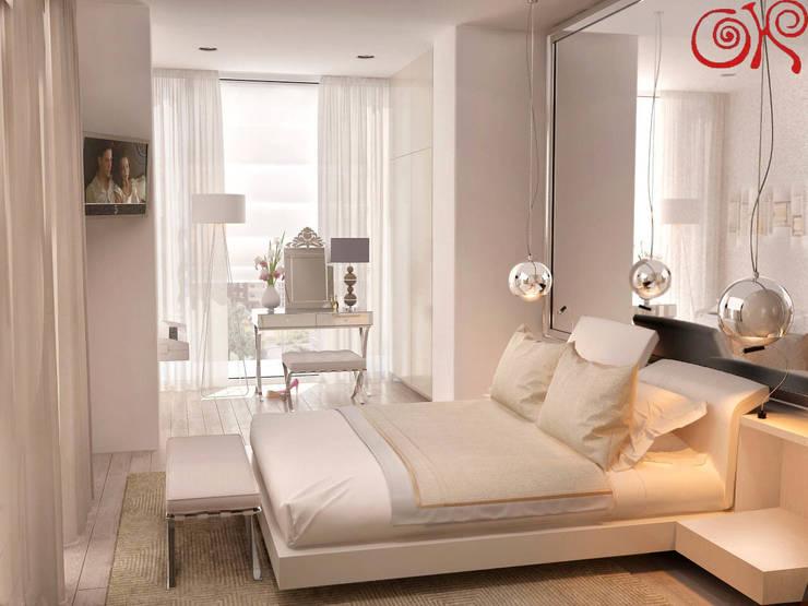 Интерьер светлой спальни с присоединенной лоджией: Спальни в . Автор – Дизайн студия Ольги Кондратовой,
