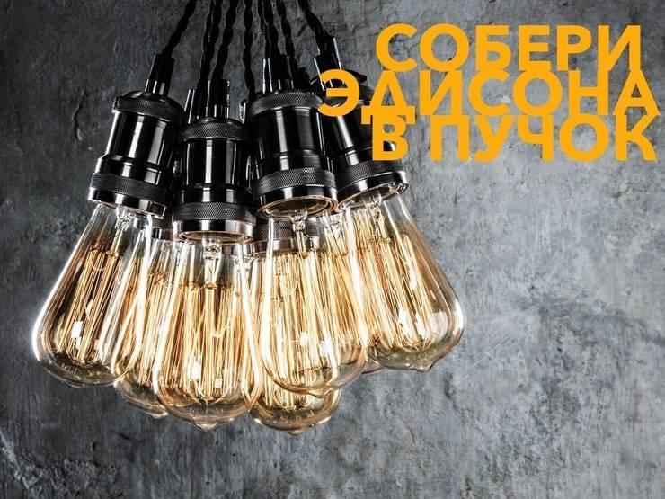 Лампочки Эдисона : Гостиная в . Автор – LoftDesigne