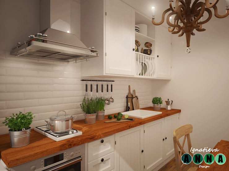 Уютная кухня в обычном панельном многоэтажном доме: Кухни в . Автор – Дизайн-студия Анны Игнатьевой