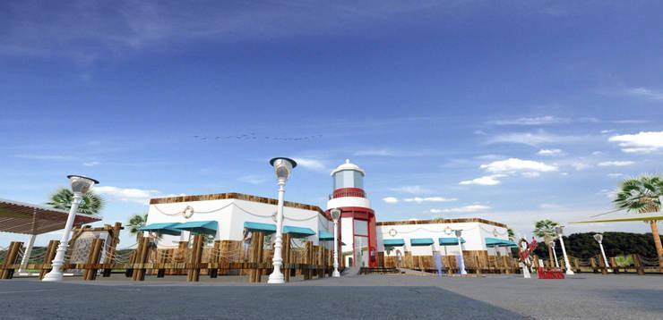 Faro y muelles: Bares y discotecas de estilo  por Acrópolis Arquitectura
