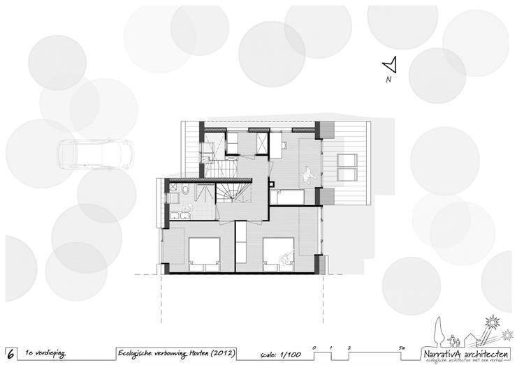 Plattegrond - verdieping (na): modern  door NarrativA architecten, Modern