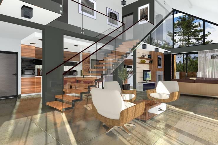 DZP-9 – dom energooszczędny i pasywny: styl , w kategorii Salon zaprojektowany przez ABC Pracownia Projektowa Bożena Nosiła - 1