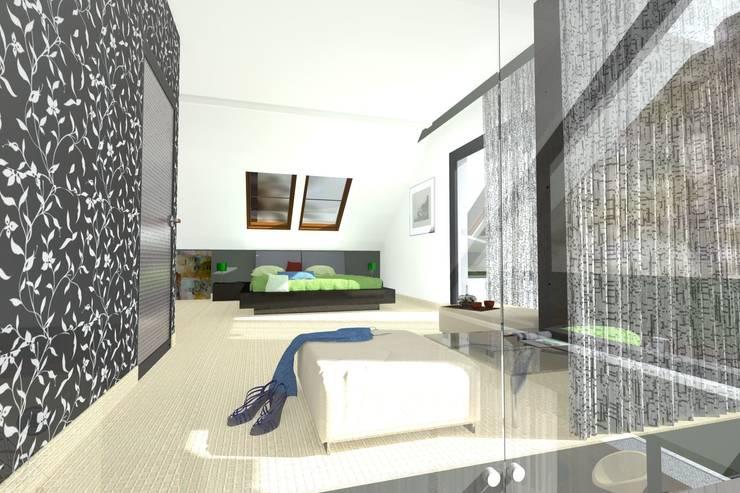 DZP-9 – dom energooszczędny i pasywny: styl , w kategorii Sypialnia zaprojektowany przez ABC Pracownia Projektowa Bożena Nosiła - 1