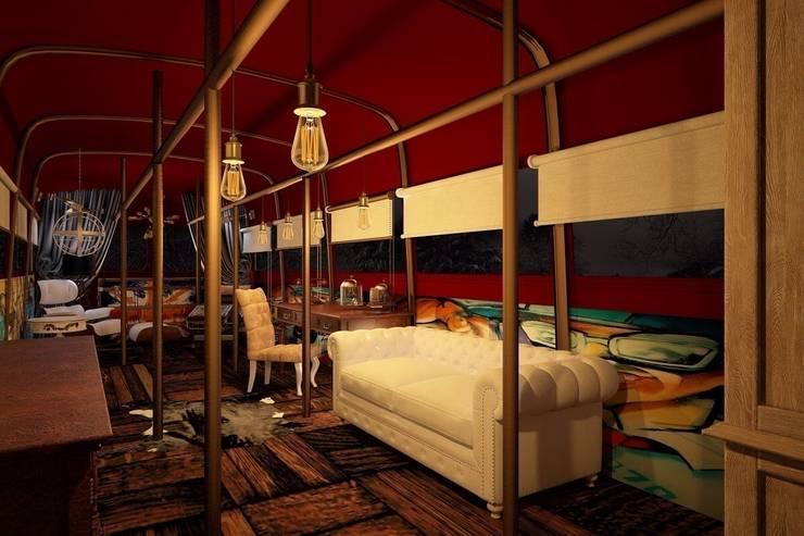 2 этаж автобуса: Рабочие кабинеты в . Автор – Veronika Brown Studio