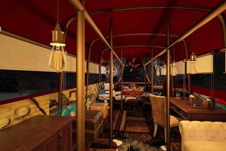 Тату-студия в английском автобусе: Рабочие кабинеты в . Автор – Veronika Brown Studio