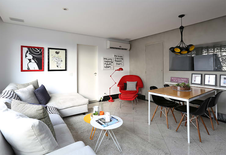 Living e Jantar Salas de estar modernas por Duda Senna Arquitetura e Decoração Moderno
