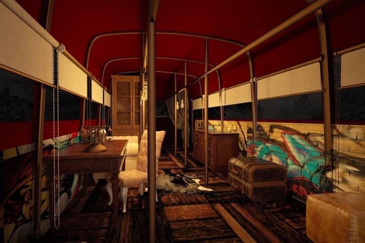 Тату-студия в английском автобусе: Гардеробные в . Автор – Veronika Brown Studio