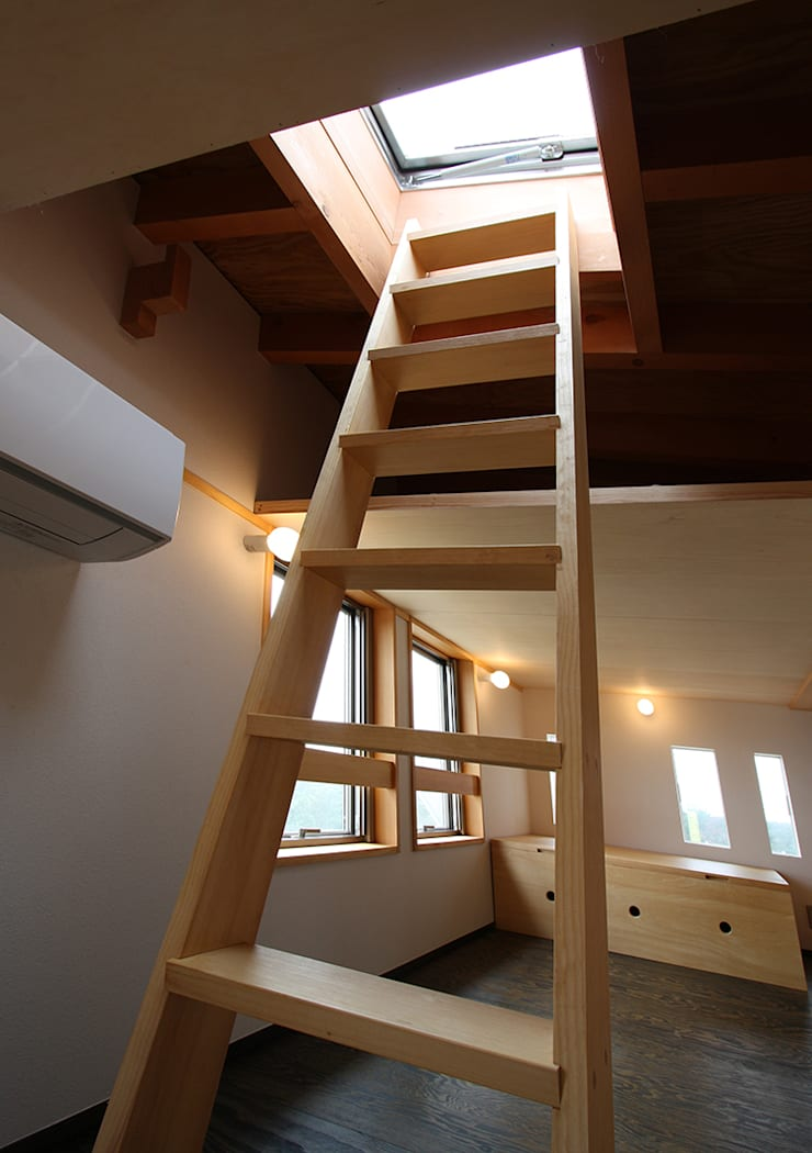 ロフトにハシゴを設置: 遠藤浩建築設計事務所 H,ENDOH  ARCHTECT  &  ASSOCIATESが手掛けた和室です。