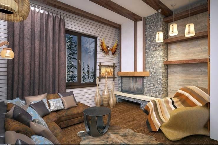 Уютная каминаая: Спальни в . Автор – Veronika Brown Studio, Рустикальный