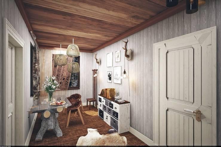 Столовая: Гостиная в . Автор – Veronika Brown Studio, Рустикальный