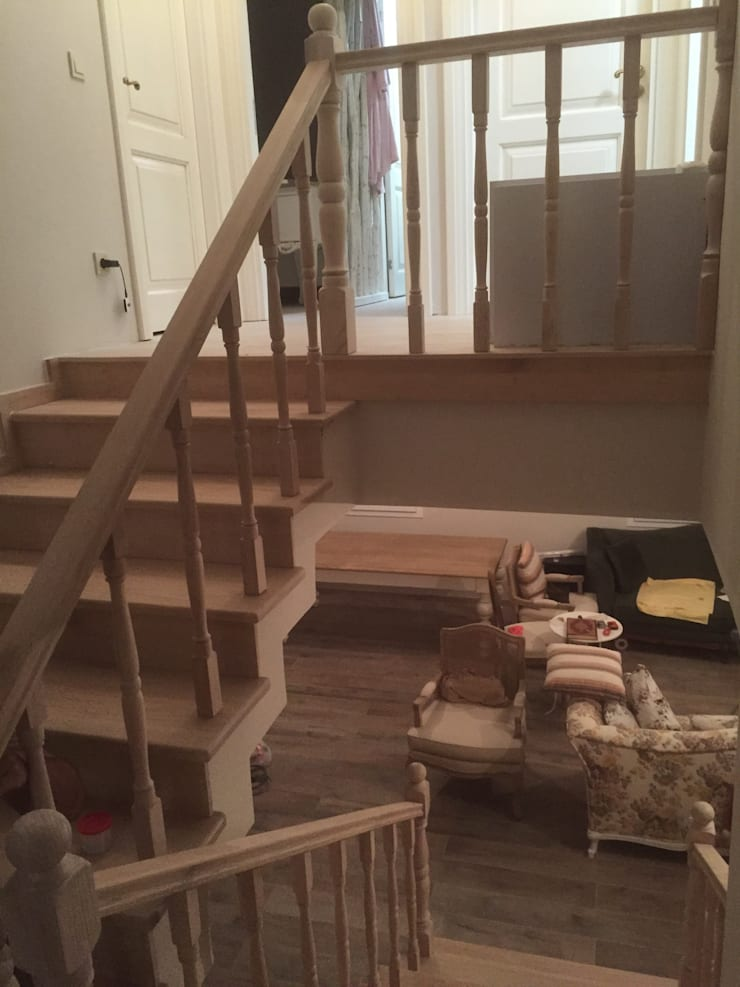 istanbul mutfakart – Ahşap merdiven:  tarz İç Dekorasyon