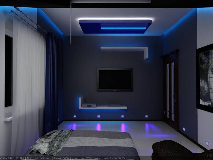 Спальня для молодого человека: Спальни в . Автор – Дизайн студия 'Exmod' Павел Цунев