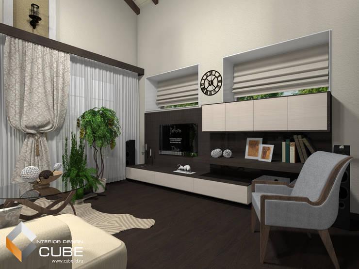 Дизайн кухни-гостиной загородного дома: Гостиная в . Автор – Лаборатория дизайна 'КУБ', Минимализм