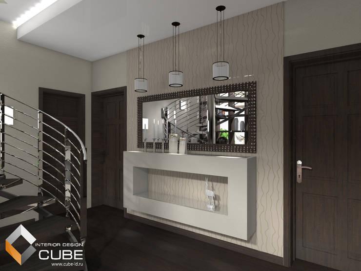 Дизайн кухни-гостиной загородного дома: Коридор и прихожая в . Автор – Лаборатория дизайна 'КУБ', Минимализм