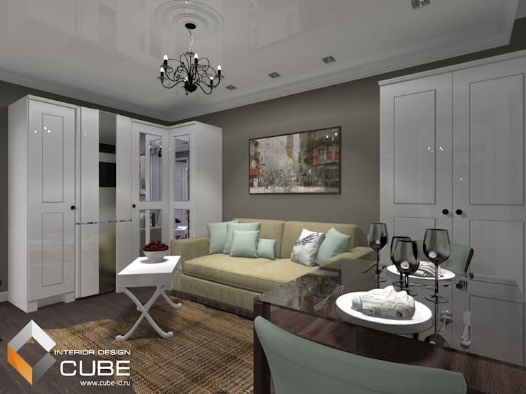 Дизайн малогабаритной квартиры: Гостиная в . Автор – Лаборатория дизайна 'КУБ'