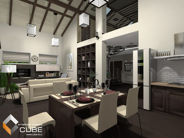 Дизайн кухни-гостиной загородного дома: Кухни в . Автор – Лаборатория дизайна 'КУБ', Минимализм