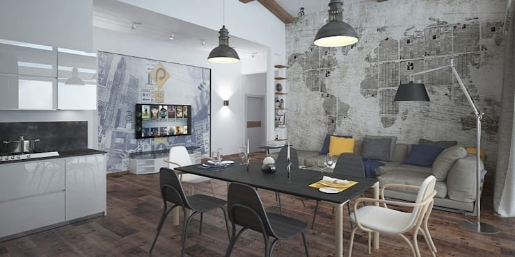 Лофт, гостиная+кухня: Гостиная в . Автор – Мастерская архитектуры и дизайна FOX,