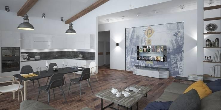 Лофт, гостиная+кухня: Кухни в . Автор – Мастерская архитектуры и дизайна FOX