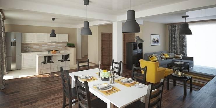 Интерьер таунхауса, 183 кв. м. (3 этажа): Кухни в . Автор – Мастерская архитектуры и дизайна FOX