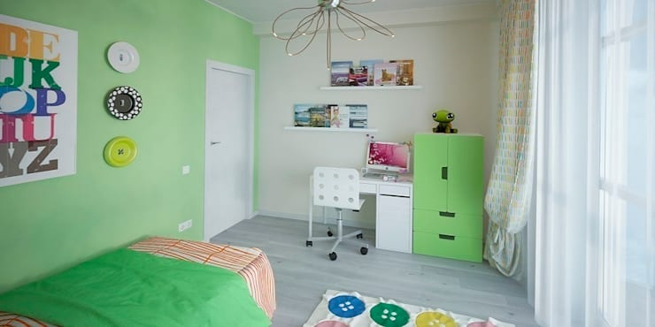 Интерьер таунхауса, 183 кв. м. (3 этажа): Детские комнаты в . Автор – Мастерская архитектуры и дизайна FOX