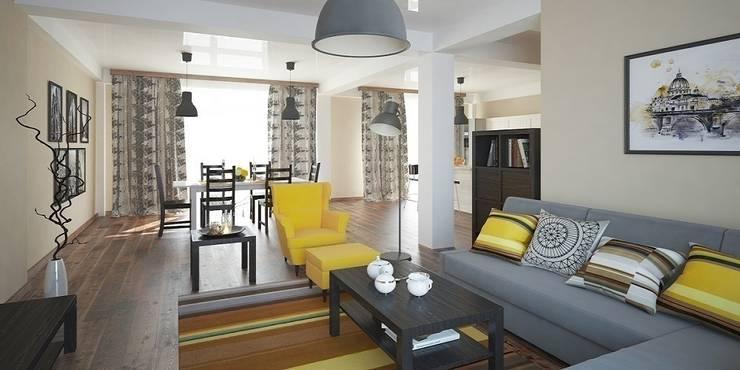 Интерьер таунхауса, 183 кв. м. (3 этажа): Гостиная в . Автор – Мастерская архитектуры и дизайна FOX
