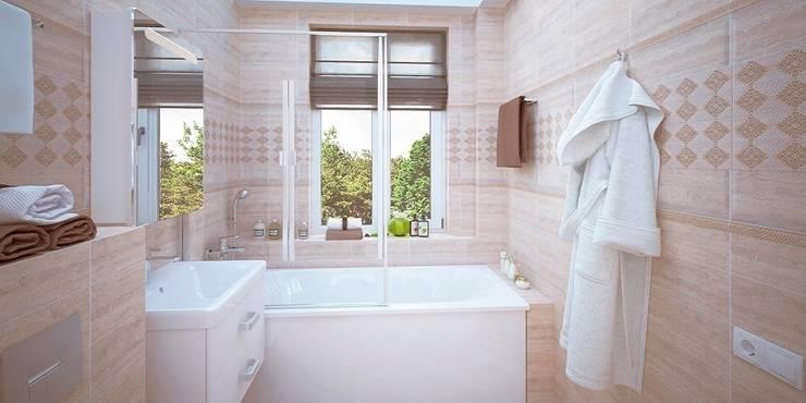 Интерьер таунхауса, 183 кв. м. (3 этажа): Ванные комнаты в . Автор – Мастерская архитектуры и дизайна FOX