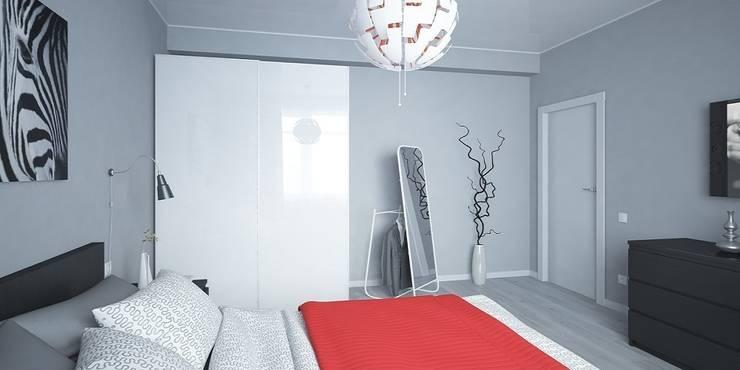 Интерьер таунхауса, 183 кв. м. (3 этажа): Спальни в . Автор – Мастерская архитектуры и дизайна FOX