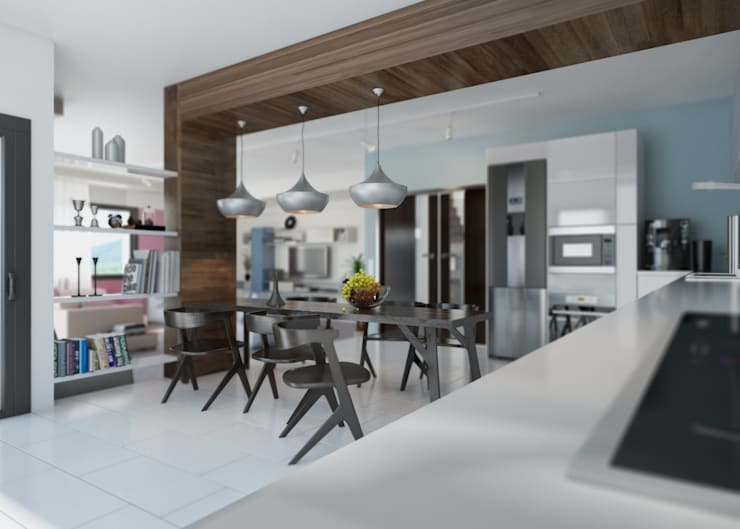 ROAS ARCHITECTURE 3D DESIGN – Kitchen View:  tarz Mutfak