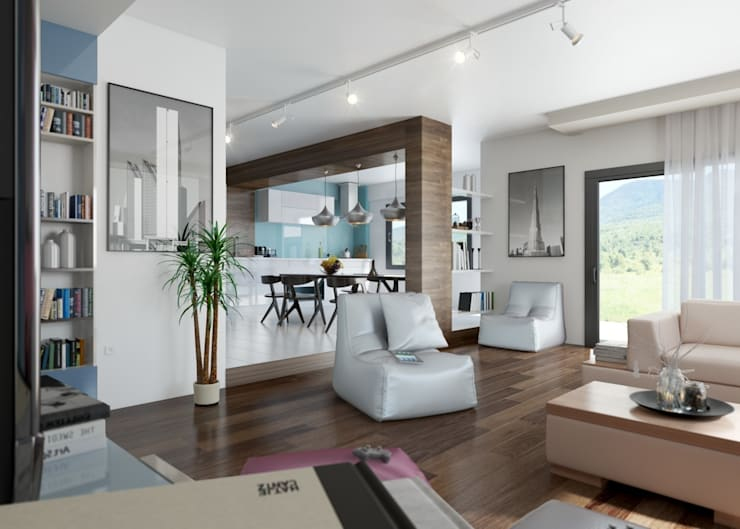 ROAS ARCHITECTURE 3D DESIGN – Living Room View:  tarz Oturma Odası