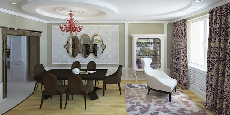 Дизайн-проект таунхауса 300 кв. м.: Гостиная в . Автор – Мастерская архитектуры и дизайна FOX