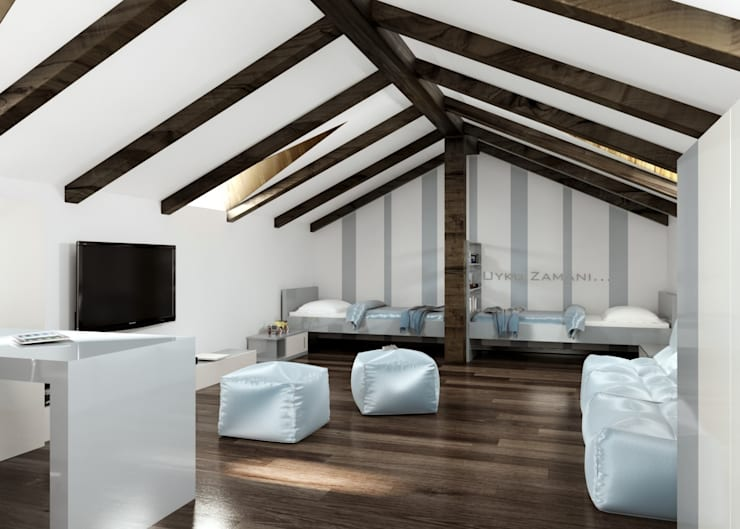 ROAS ARCHITECTURE 3D DESIGN AGENCY – Efe' s Attic Room:  tarz Çocuk Odası