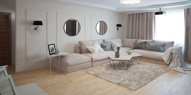 Дизайн-проект однокомнатной квартиры: Гостиная в . Автор – Мастерская архитектуры и дизайна FOX