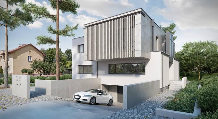 front budynku: styl , w kategorii Domy zaprojektowany przez ENDE marcin lewandowicz,Nowoczesny