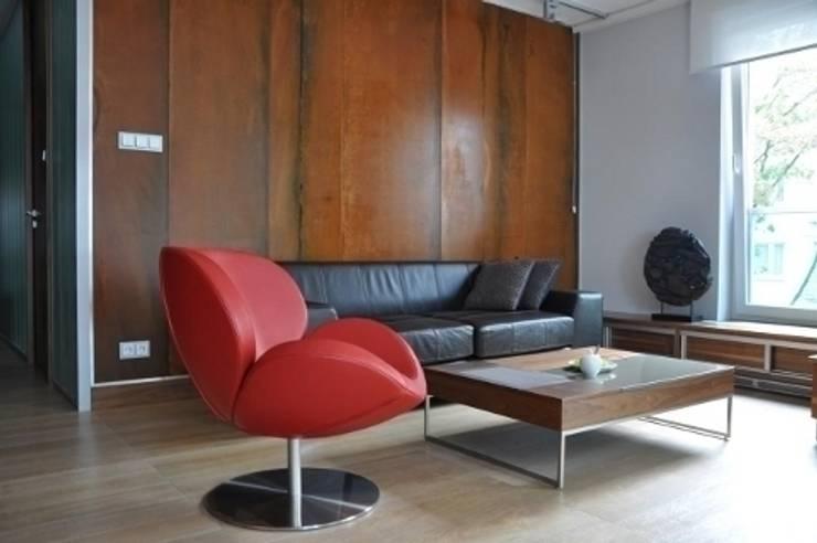 apartament w Poznaniu: styl , w kategorii Salon zaprojektowany przez ENDE marcin lewandowicz,Industrialny