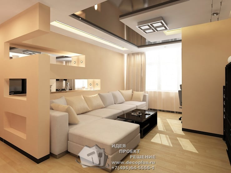 Дизайн бежевой гостиной: Гостиная в . Автор – Бюро домашних интерьеров