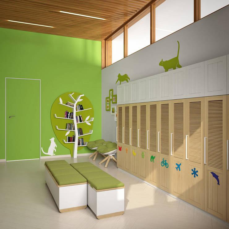 Kindergarten: Гардеробные в . Автор – Architectural Bureau DAOFORM