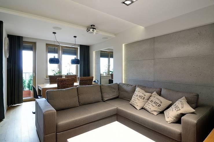 Beton udomowiony – czyli nowoczesne mieszkanie w Krakowie.: styl , w kategorii Salon zaprojektowany przez ARTEMA  PRACOWANIA ARCHITEKTURY  WNĘTRZ ,