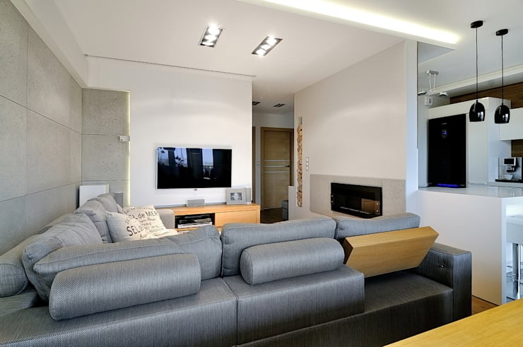 Beton udomowiony – czyli nowoczesne mieszkanie w Krakowie.: styl , w kategorii Siłownia zaprojektowany przez ARTEMA  PRACOWANIA ARCHITEKTURY  WNĘTRZ ,