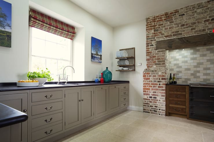 The Great Lodge | Large Grey Painted Kitchen with Exposed Brickwork:  Kitchen by Humphrey Munson