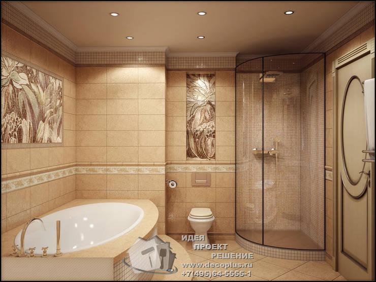 Круглая ванна и душевая кабина в интерьере ванной комнаты: Ванные комнаты в . Автор – Бюро домашних интерьеров